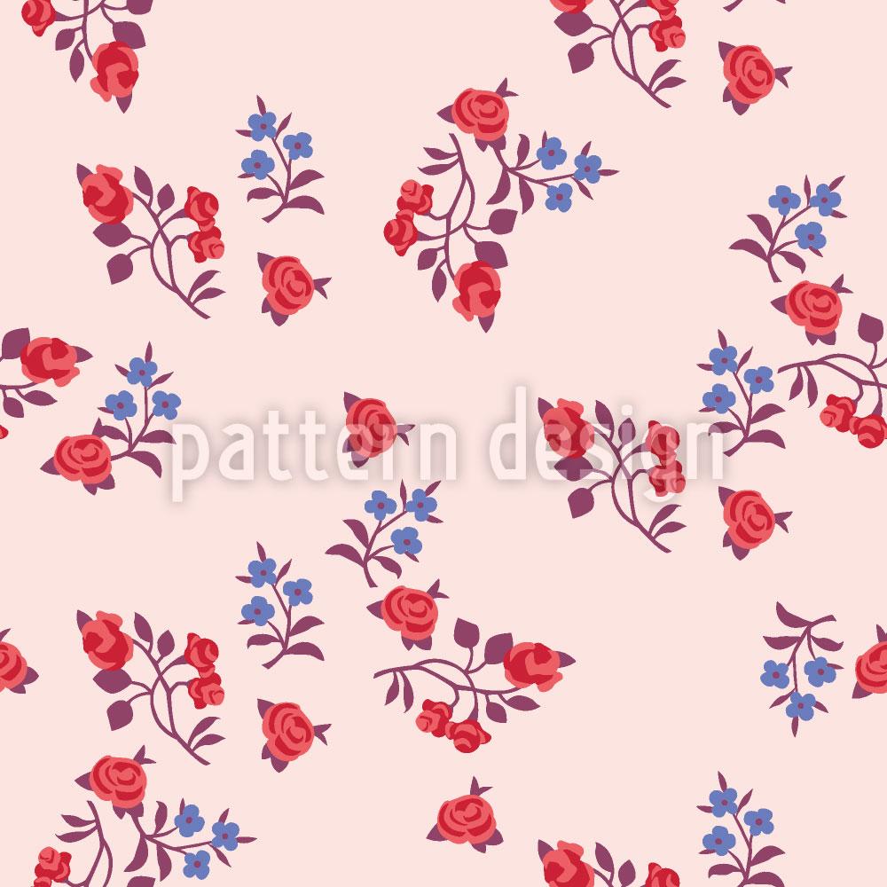 Designtapete Streublumen Auf Rosa