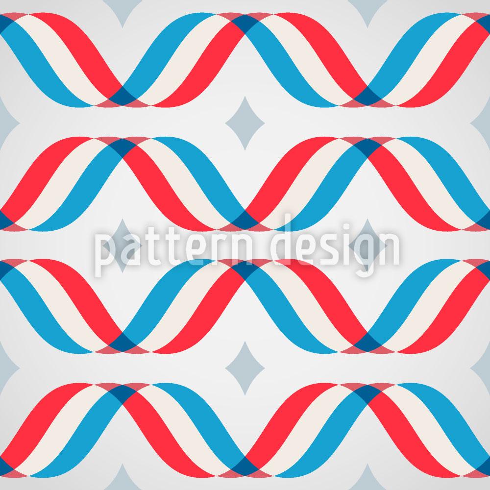 Designtapete Makro Wellen Tricolor