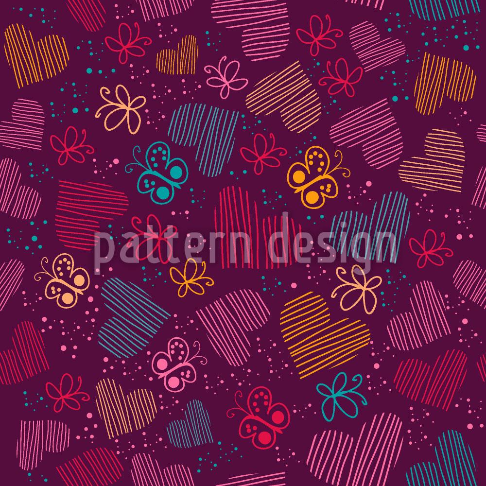 Designtapete Universum Der Schmetterlinge Und Herzen