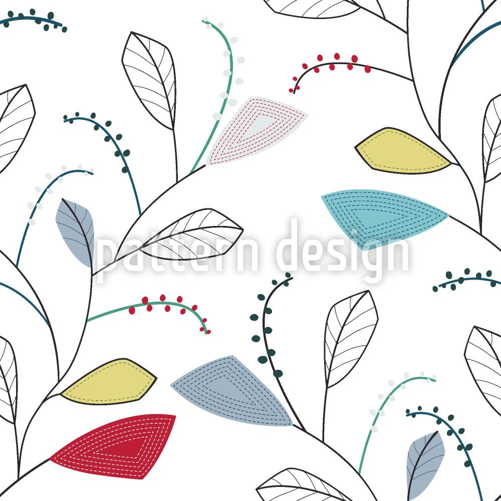 Designtapete Blattspuren Des Frühlings