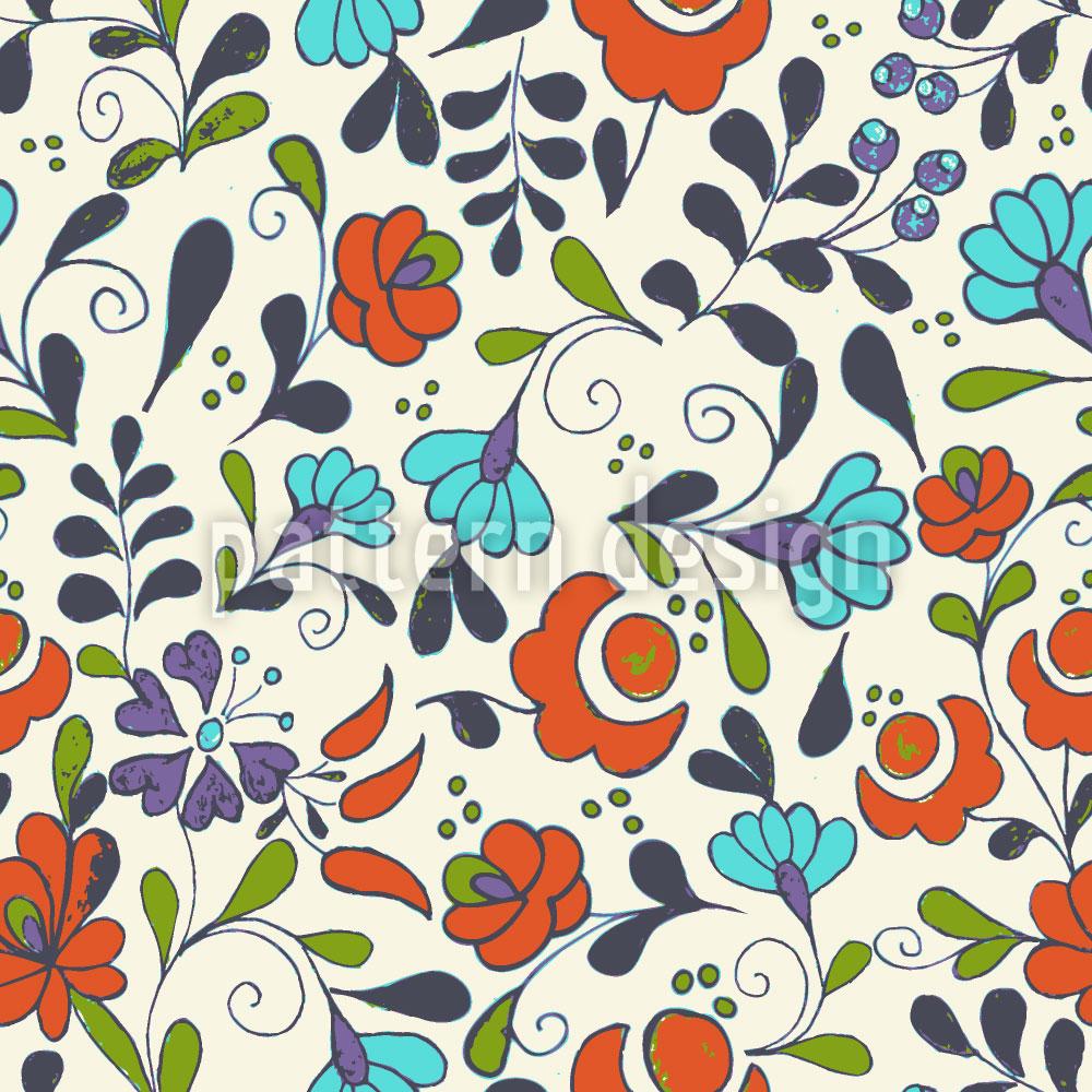 Designtapete Folklore Blumen Auf Vasen