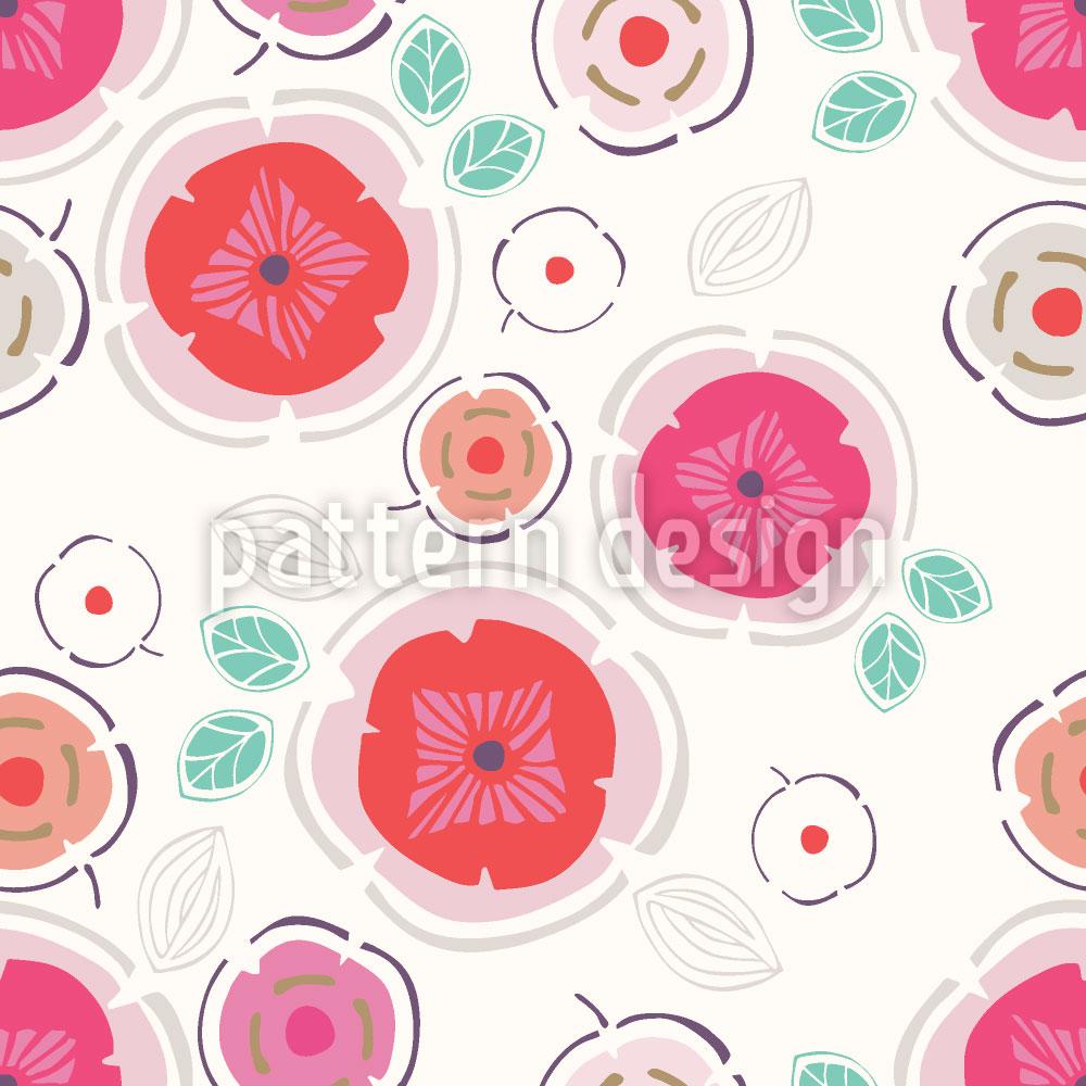 Designtapete Zauberhafte Patchwork Blumen