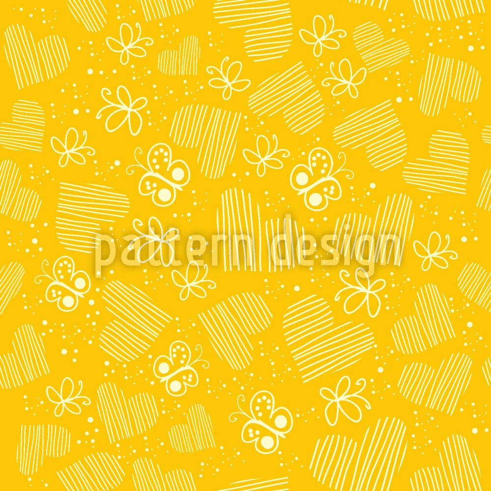 Designtapete Schmetterlinge Und Herzen Auf Der Sonne