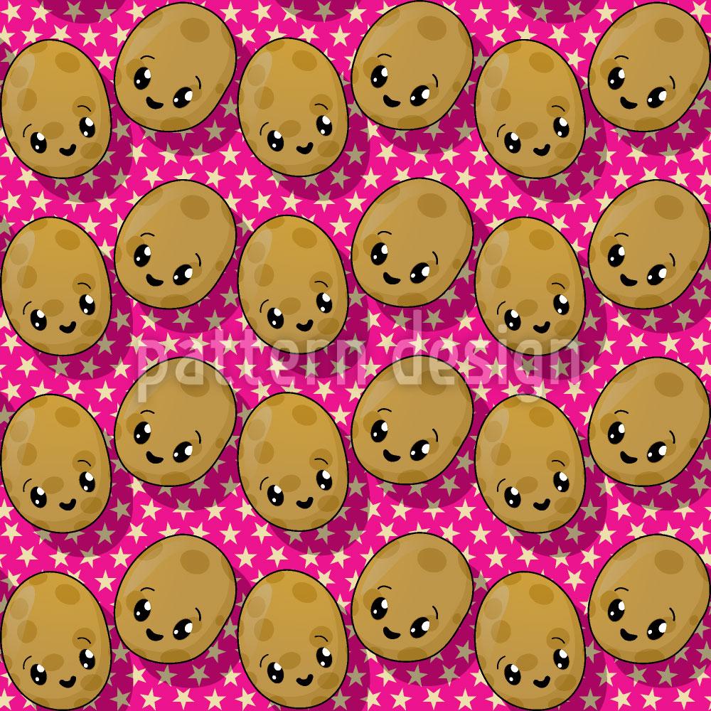 Designtapete Die Kleinen Kawaii Kartoffeln