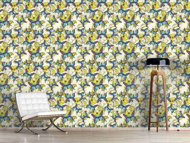 Designtapete Blumenmeer Und Schmetterling