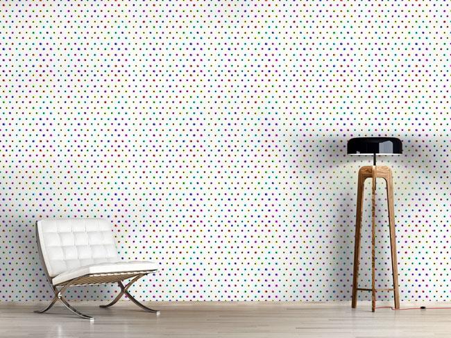 Designtapete Neon Polka Dots