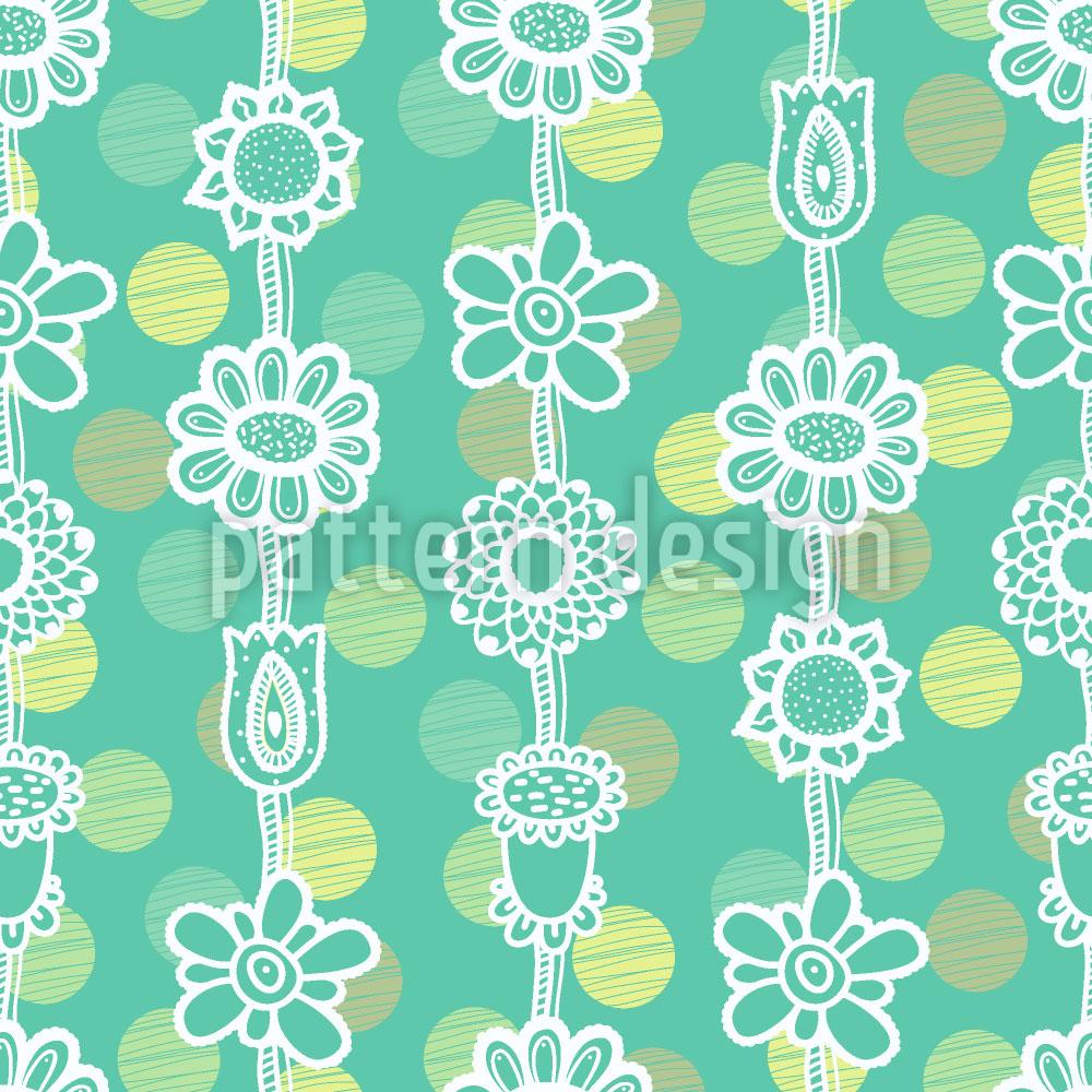 Designtapete Blumengirlanden Auf Punkten