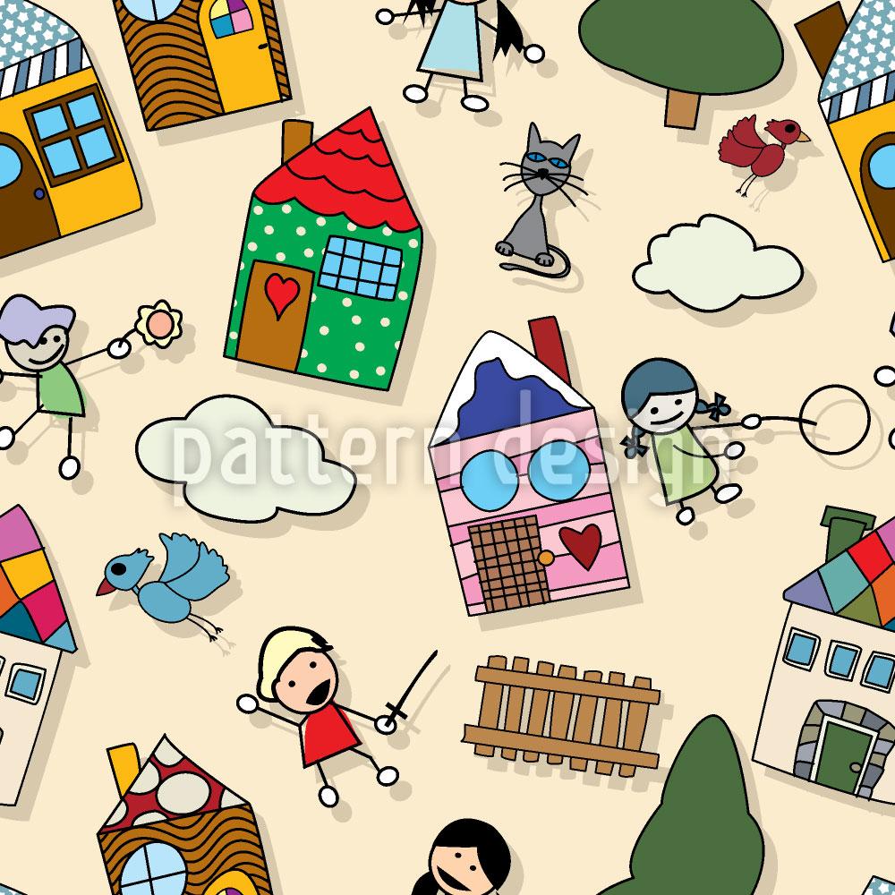 Designtapete Wir Spielen Vorm Haus