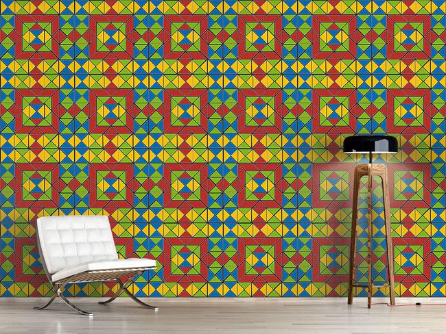 Designtapete Tangram Muster