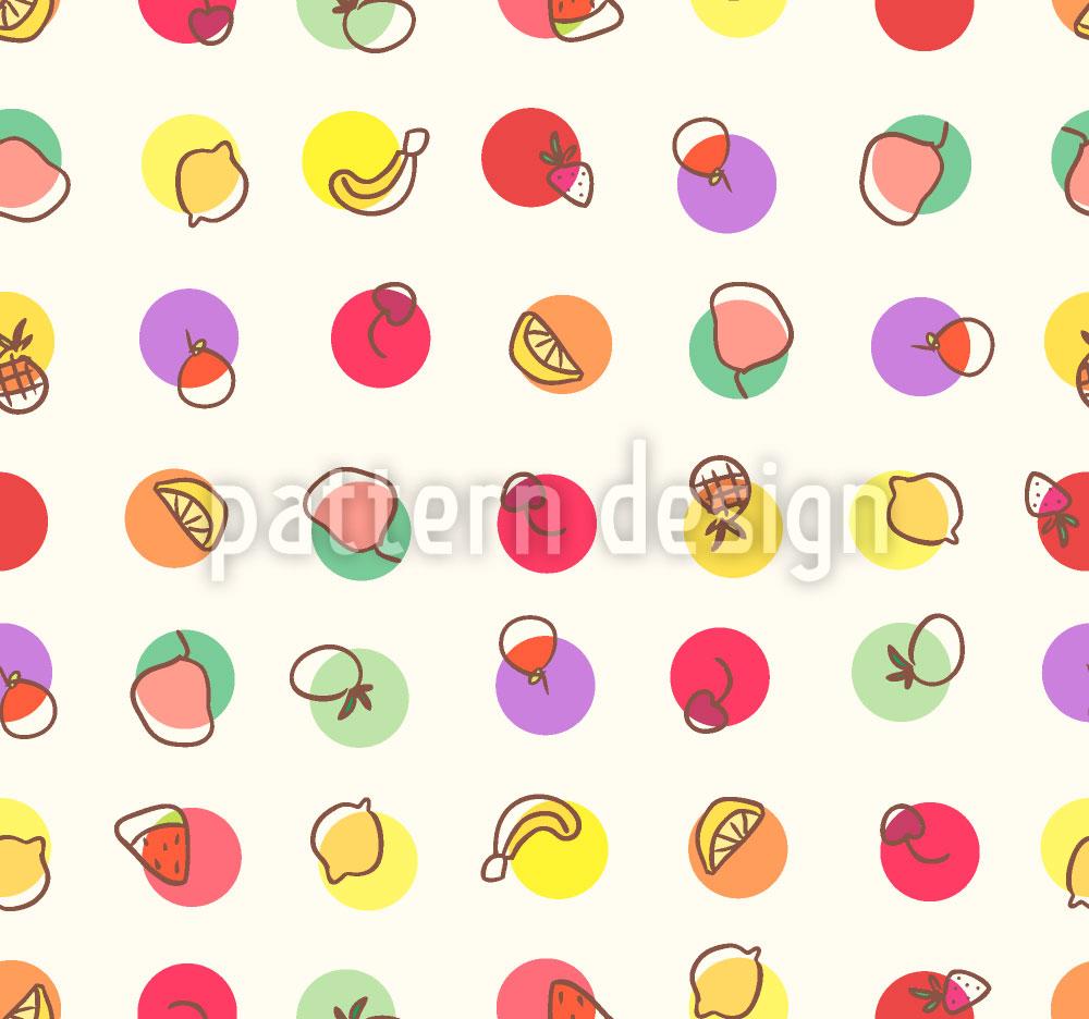 Designtapete Tutti Frutti Polkadot
