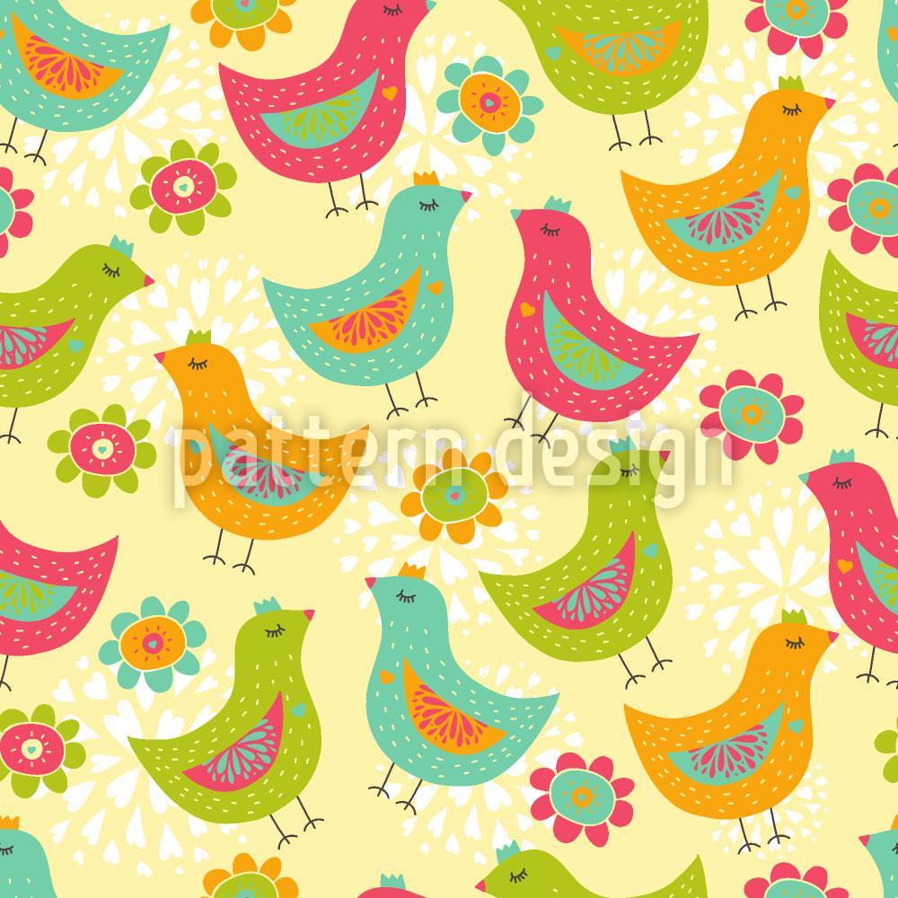 Designtapete Die Glücklichen Hühner