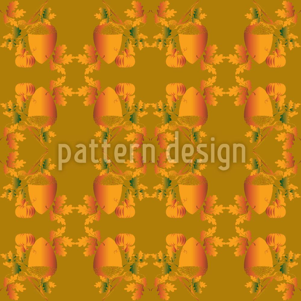 Designtapete Eicheln Und Blätter