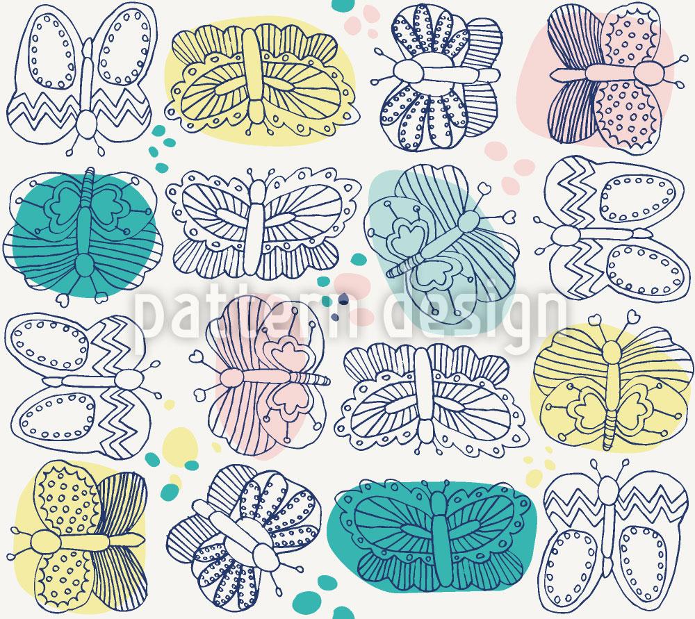 Designtapete Schmetterlings Sammlung