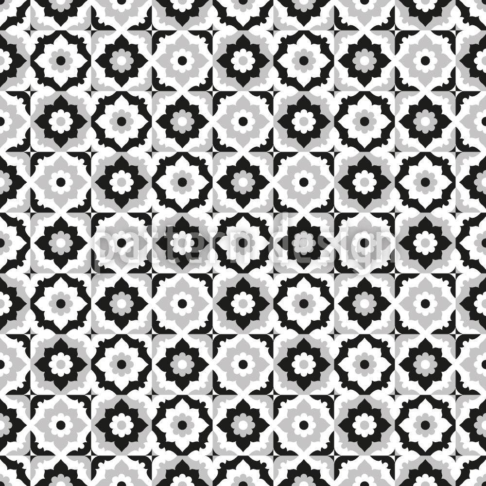 Designtapete Floraler Fliesen Mix