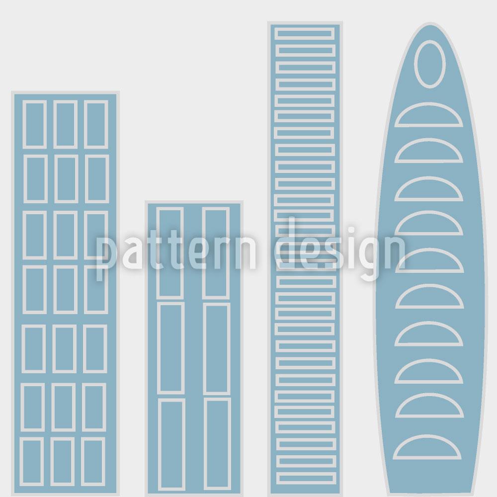 Designtapete Die Wolkenkratzer Der Blauen Stadt
