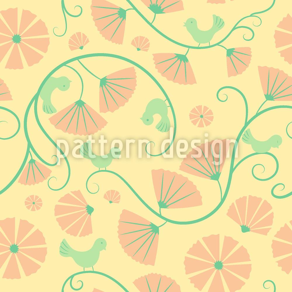 Designtapete Vögelchen Und Fächerblumen