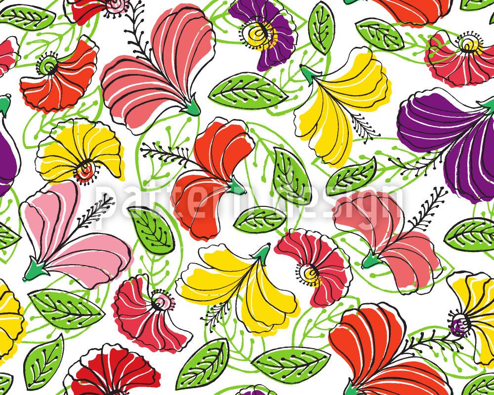 Designtapete Paradiesische Blumen Fantasie