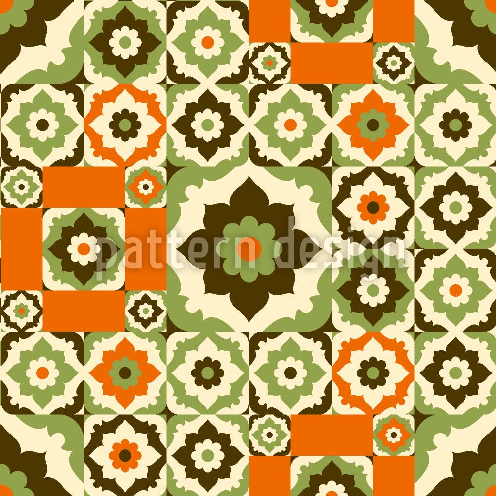 Designtapete Blumen Aus Dem Retro Orient