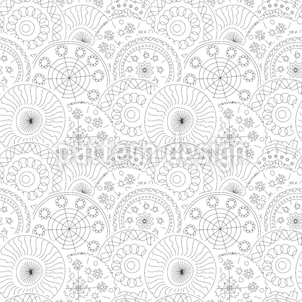 Designtapete Filigrane Kreis Blumen