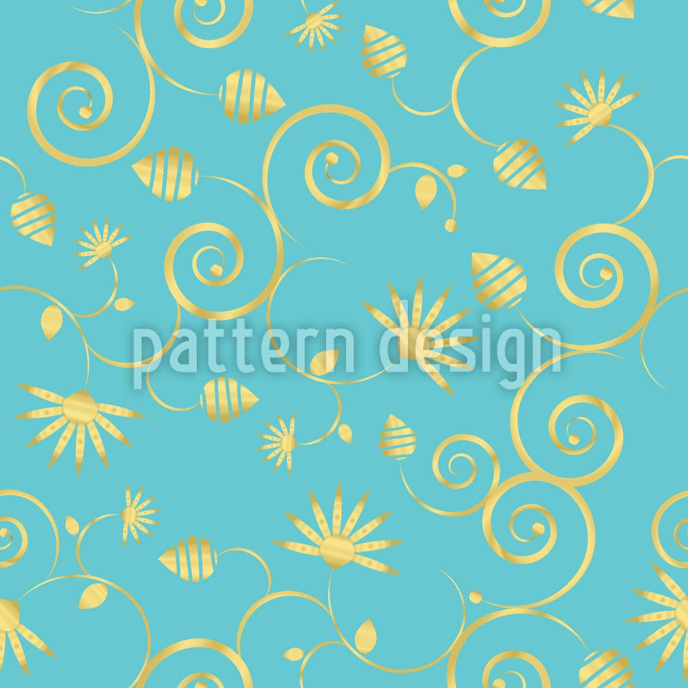 Designtapete Ein Himmel Voller Gold Blumen
