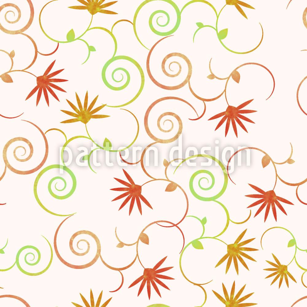 Designtapete Zauberhafte Locken Blumen