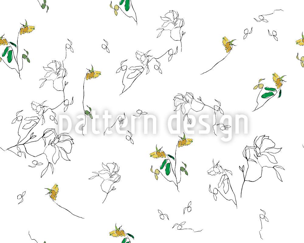 Designtapete Sommer Blumen Zeichnen