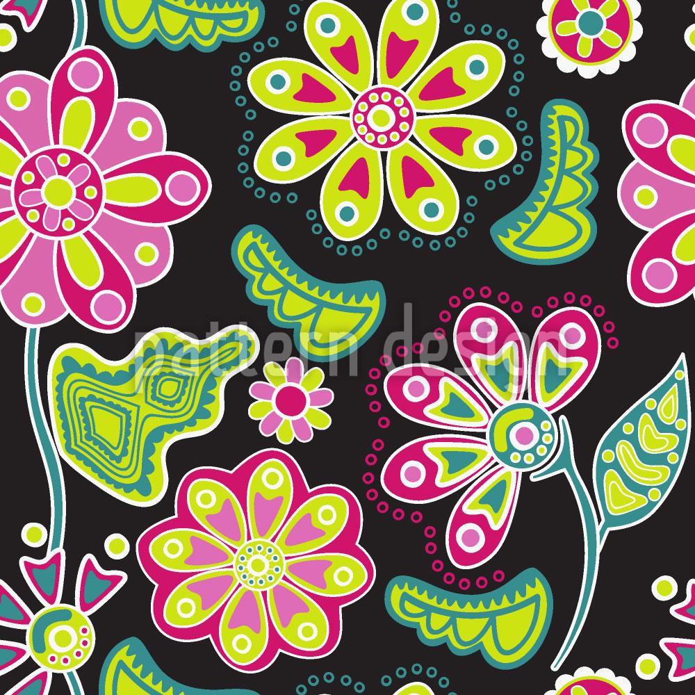 Designtapete Nacht Blumen Folklore