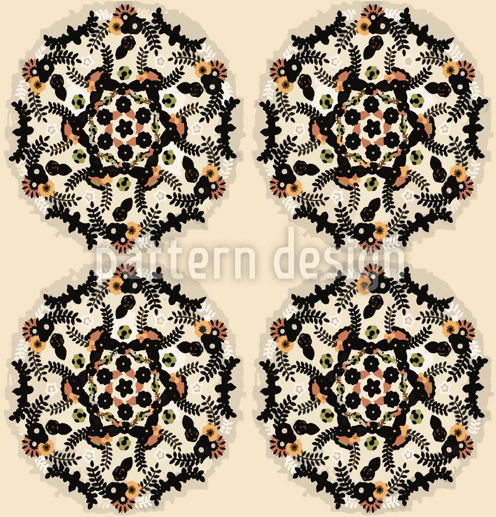 Designtapete Kleine Blumen Mandalas