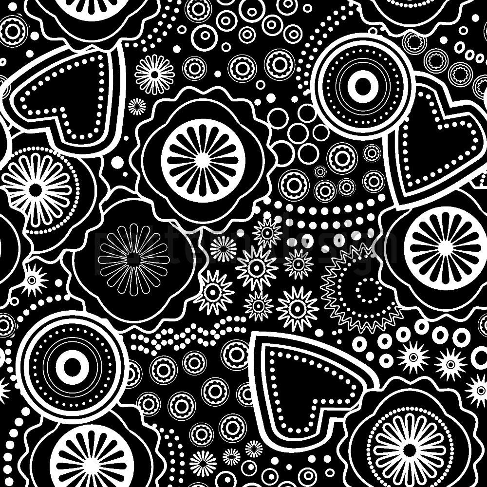 Designtapete Blume Herz Und Kreis
