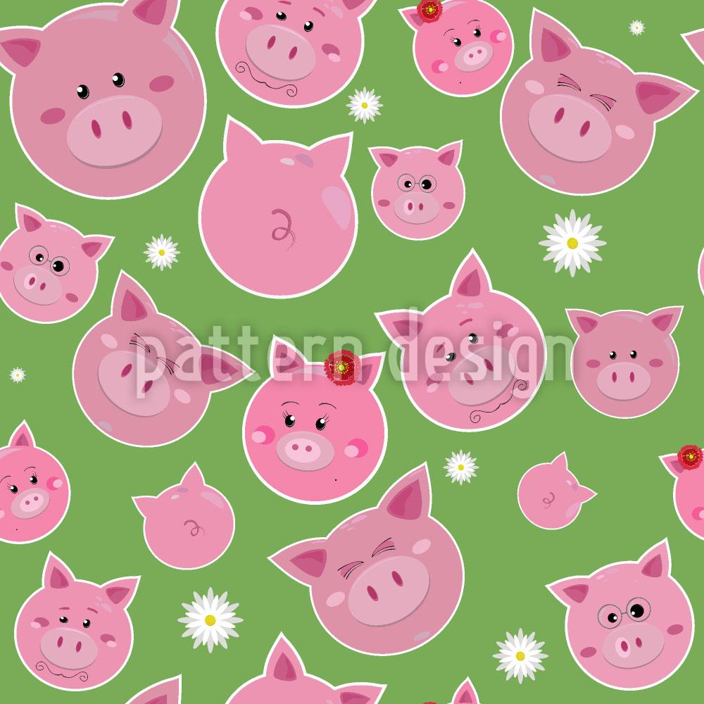 Designtapete Familie Schwein Im Glück