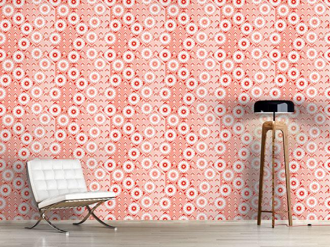 Designtapete Bonbon Blumen Auf Mosaik