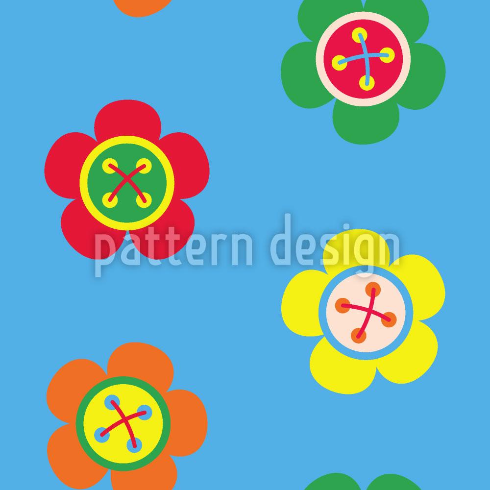 Designtapete Blumen Knöpfe