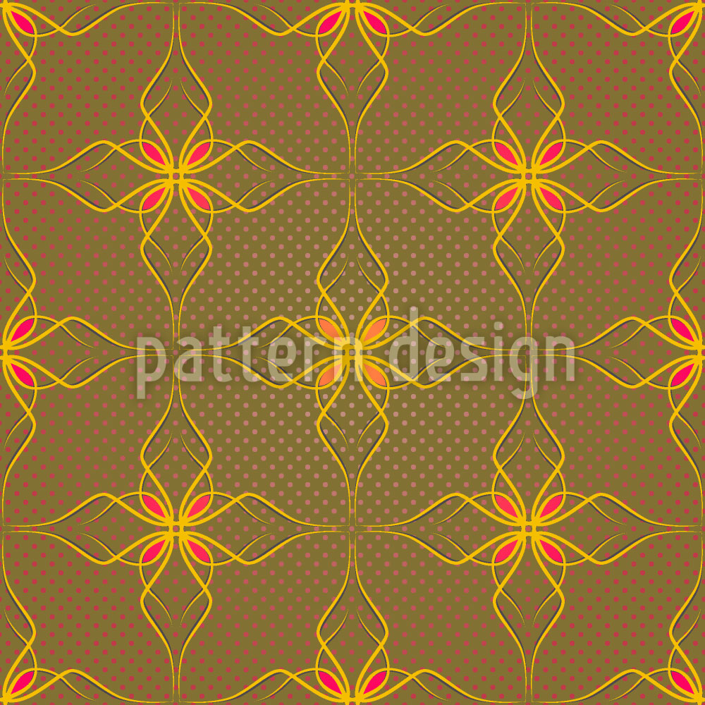 Designtapete Blumen In Gold