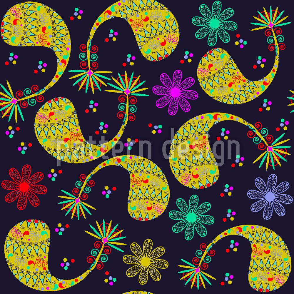 Designtapete Paisley Und Blume Bei Nacht