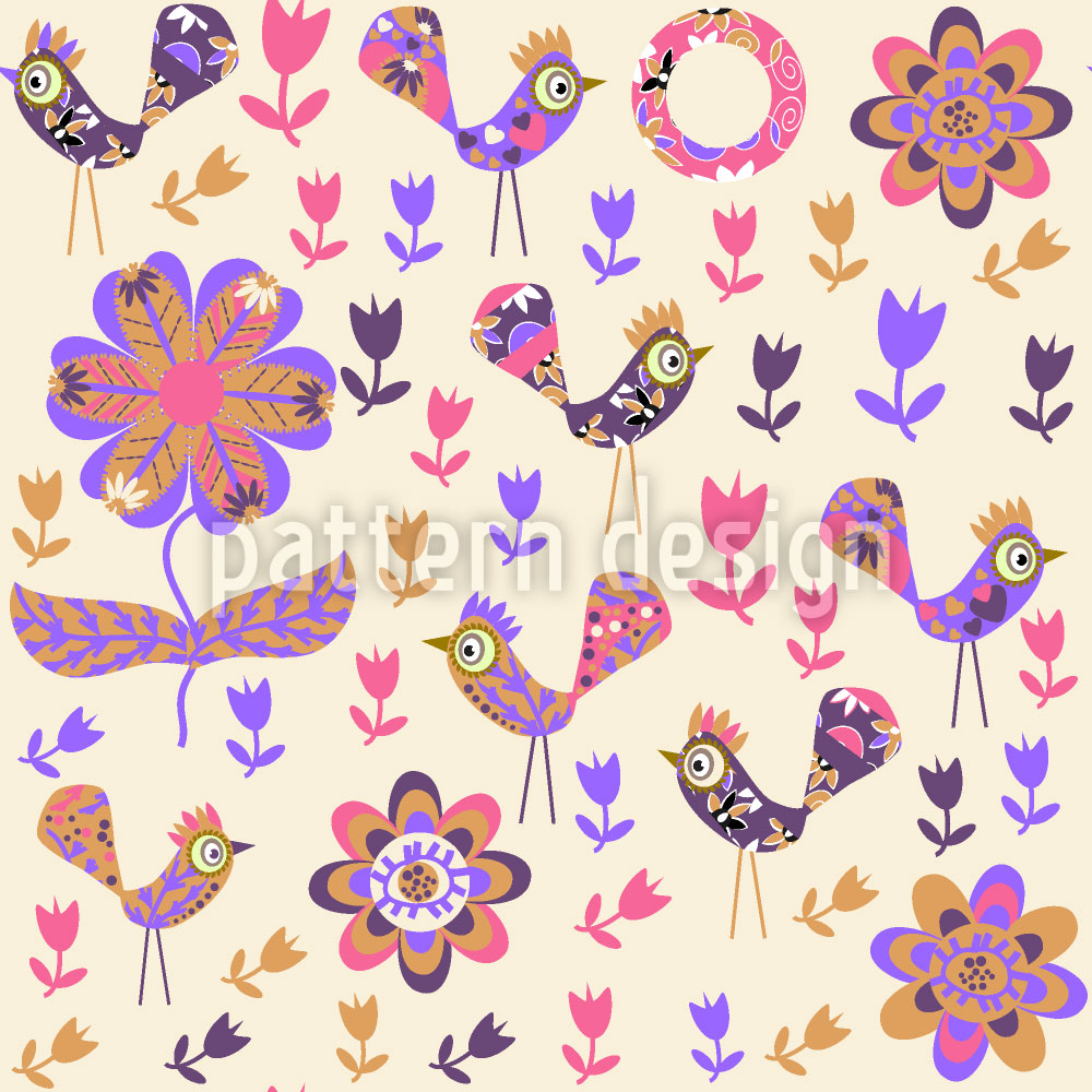 Designtapete Patchwork Vögel Im Garten