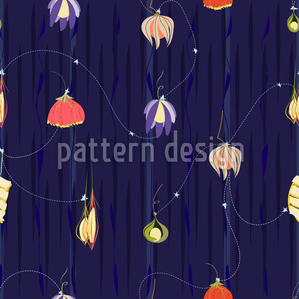 Designtapete Die Nacht Der Blumen Laternen