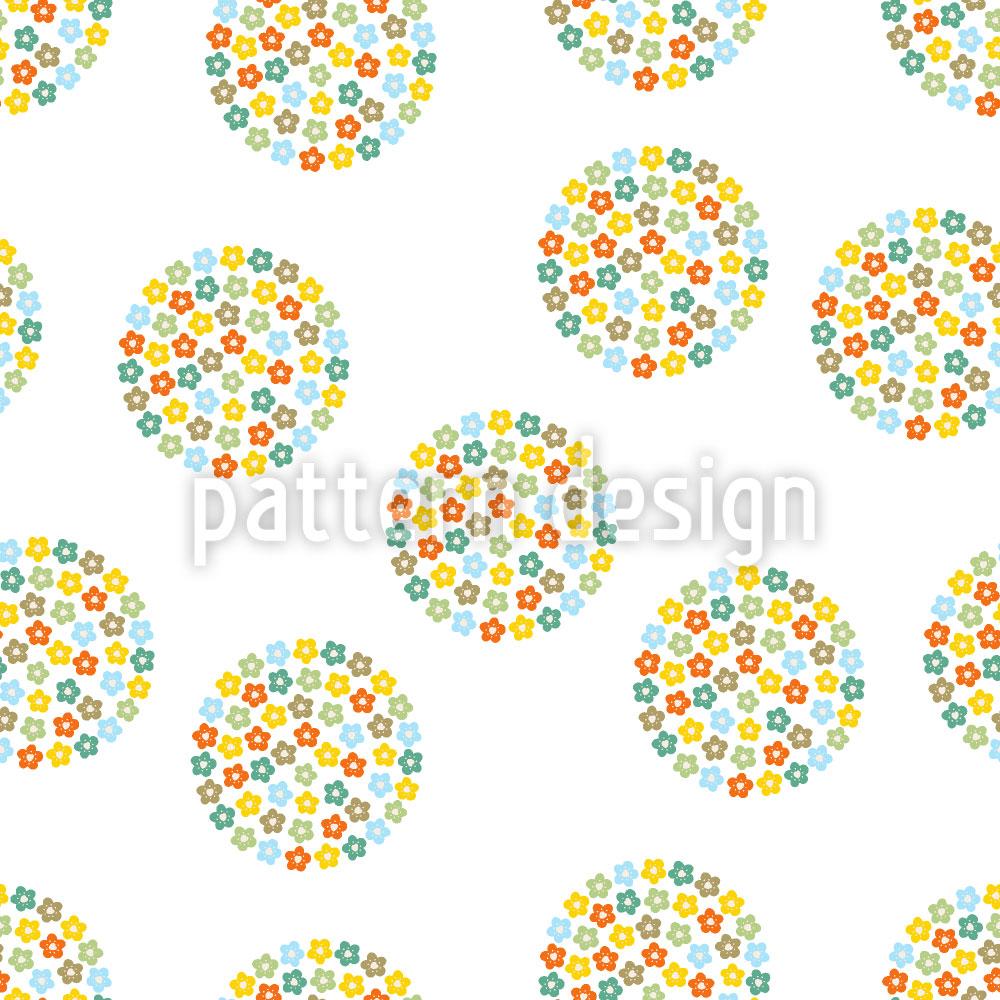 Designtapete Retro Blumen Kreise