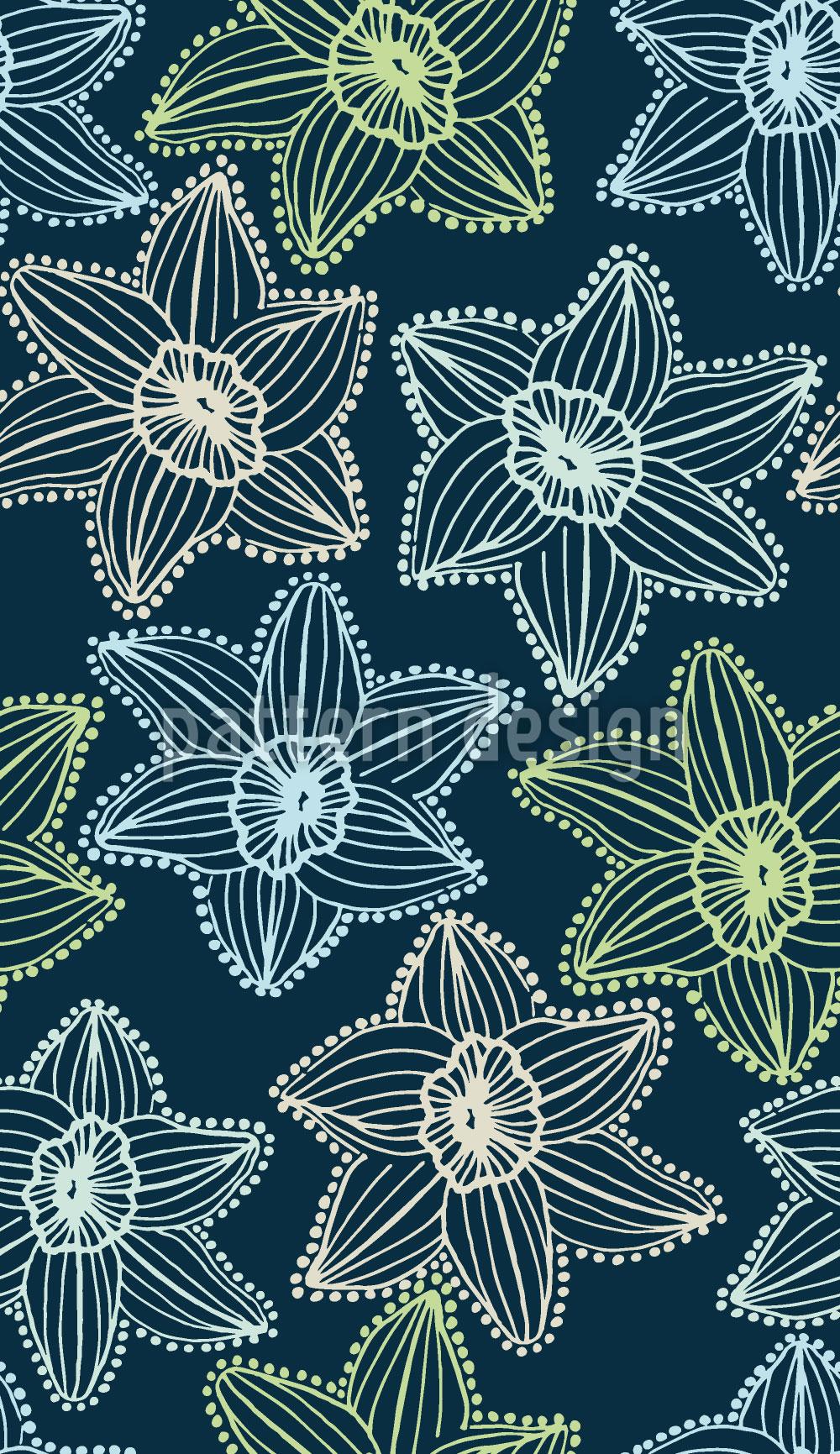 Designtapete Blumen Transparenz