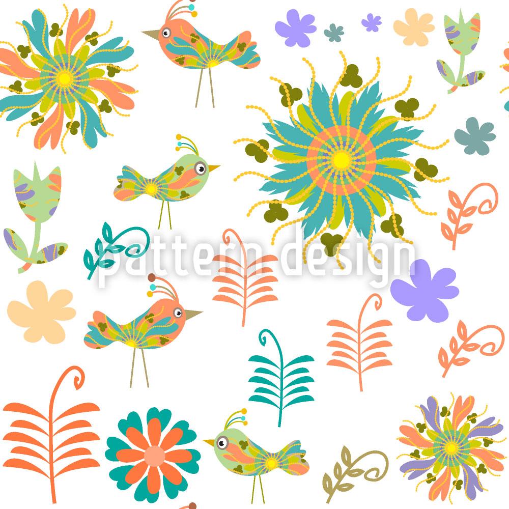 Designtapete Patchwork Vögel