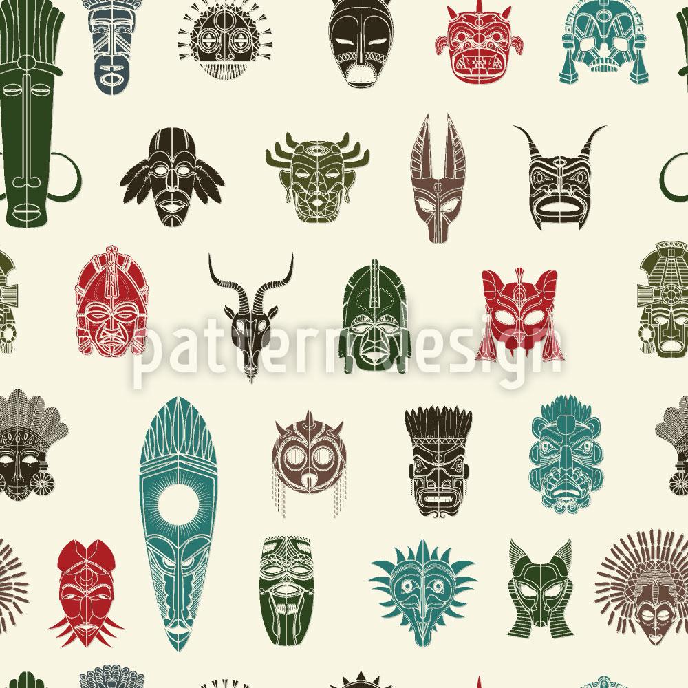 Designtapete Stammes Masken