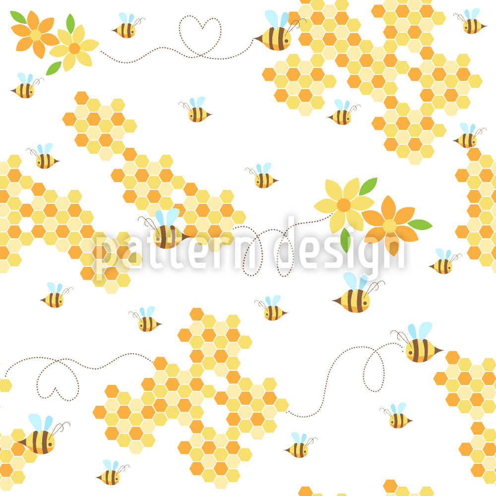 Designtapete Bienchen Lieben Waben