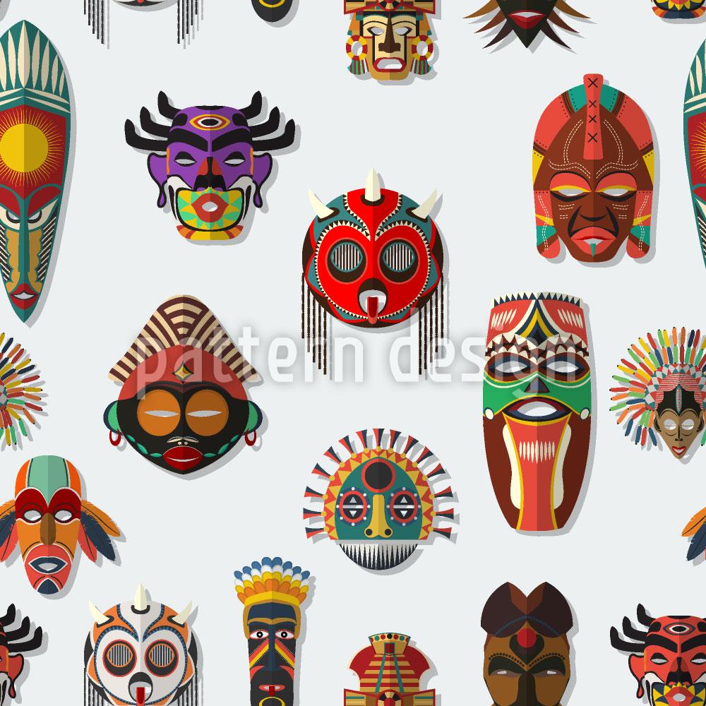 Designtapete Masken An Der Wand