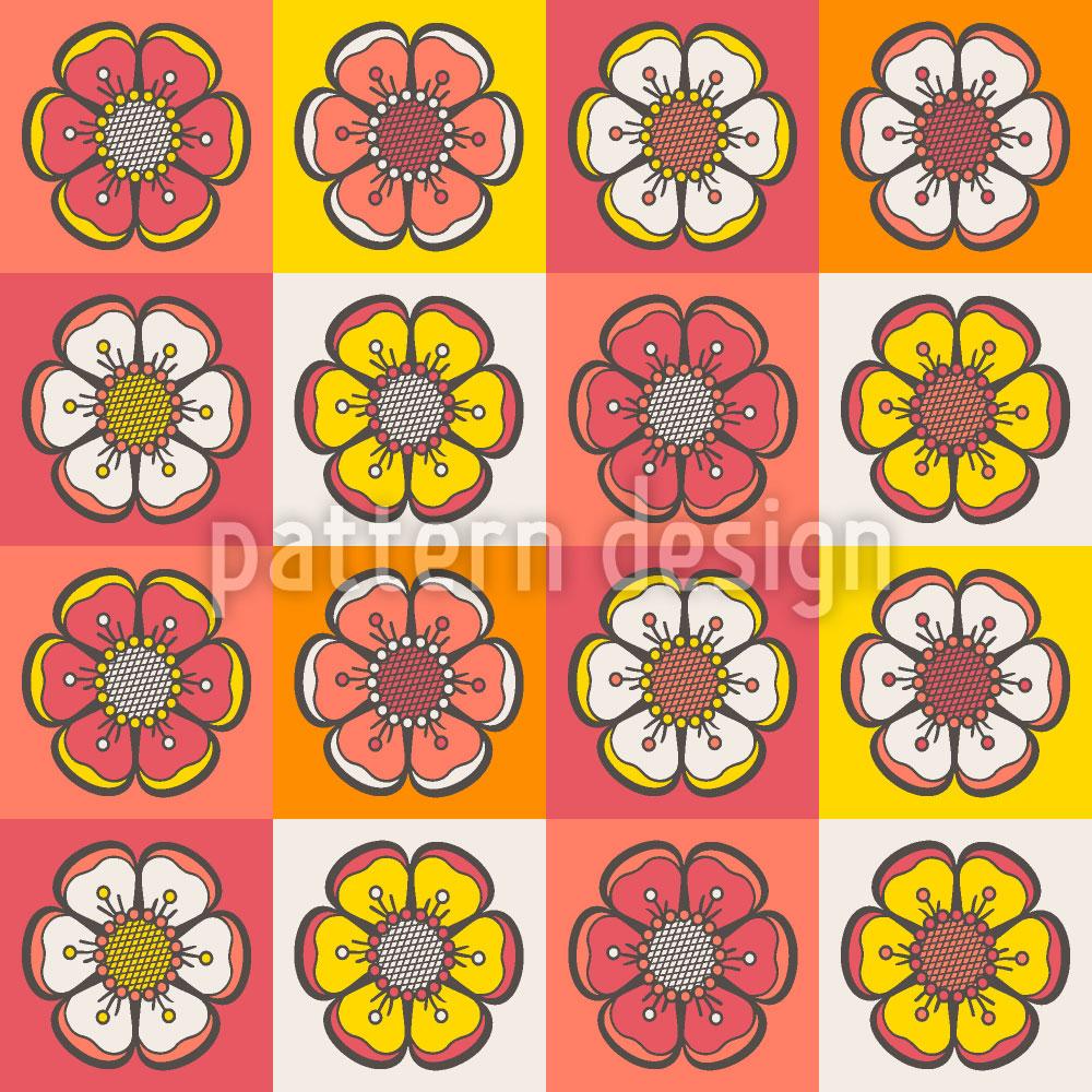 Designtapete Böhmisches Blumen Patchwork
