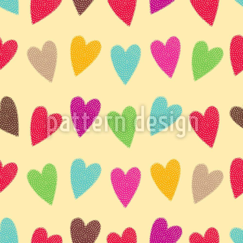 Designtapete Gehäkelte Herzchen