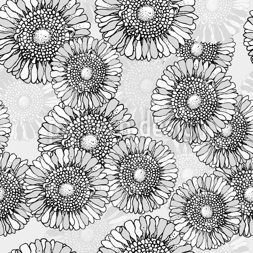 Designtapete Sonnenblumen Grau