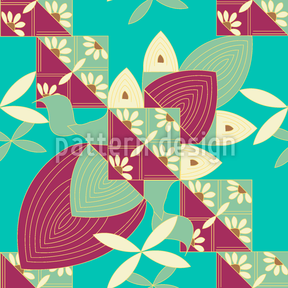 Designtapete Blumen Flügel