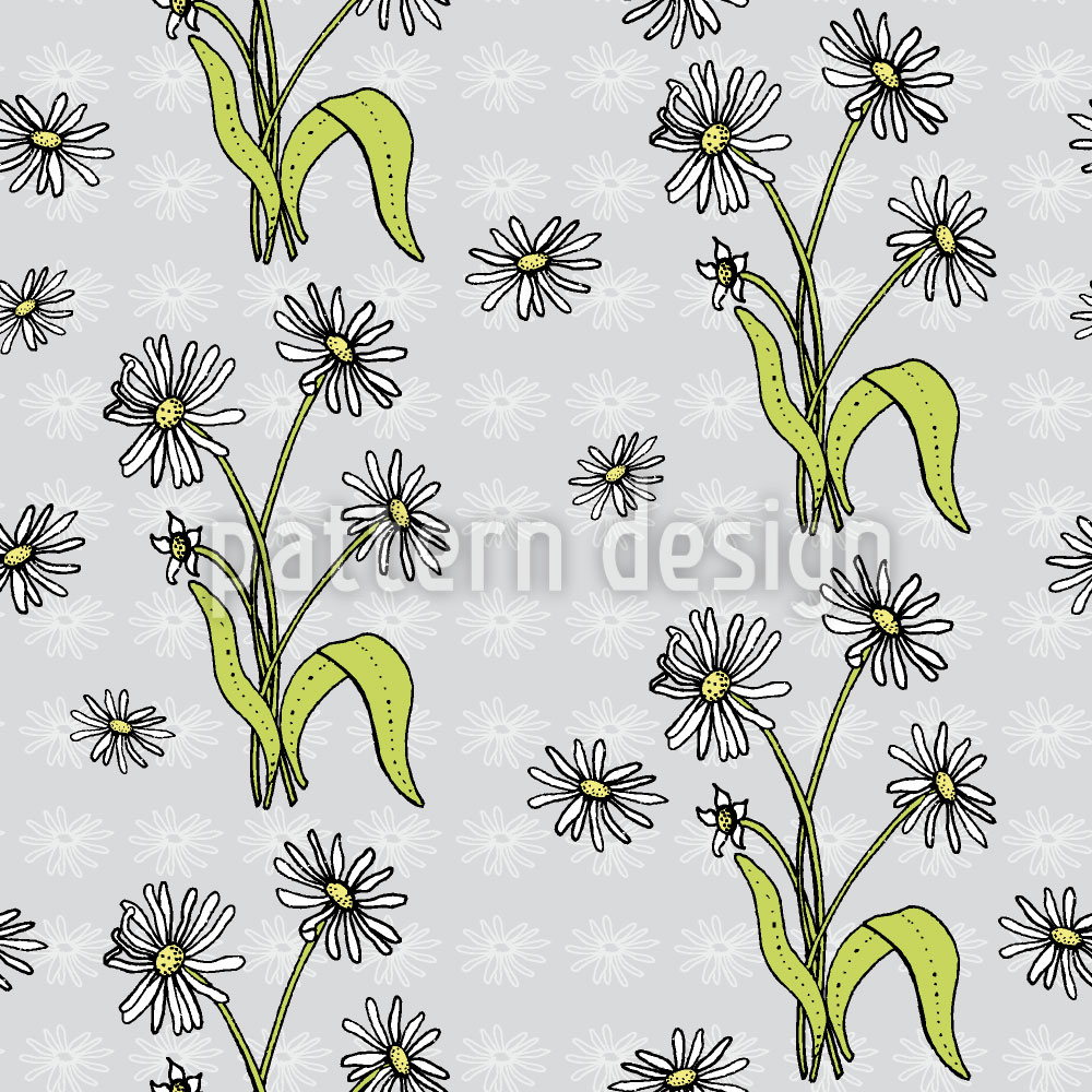 Designtapete Gänseblümchen Grau