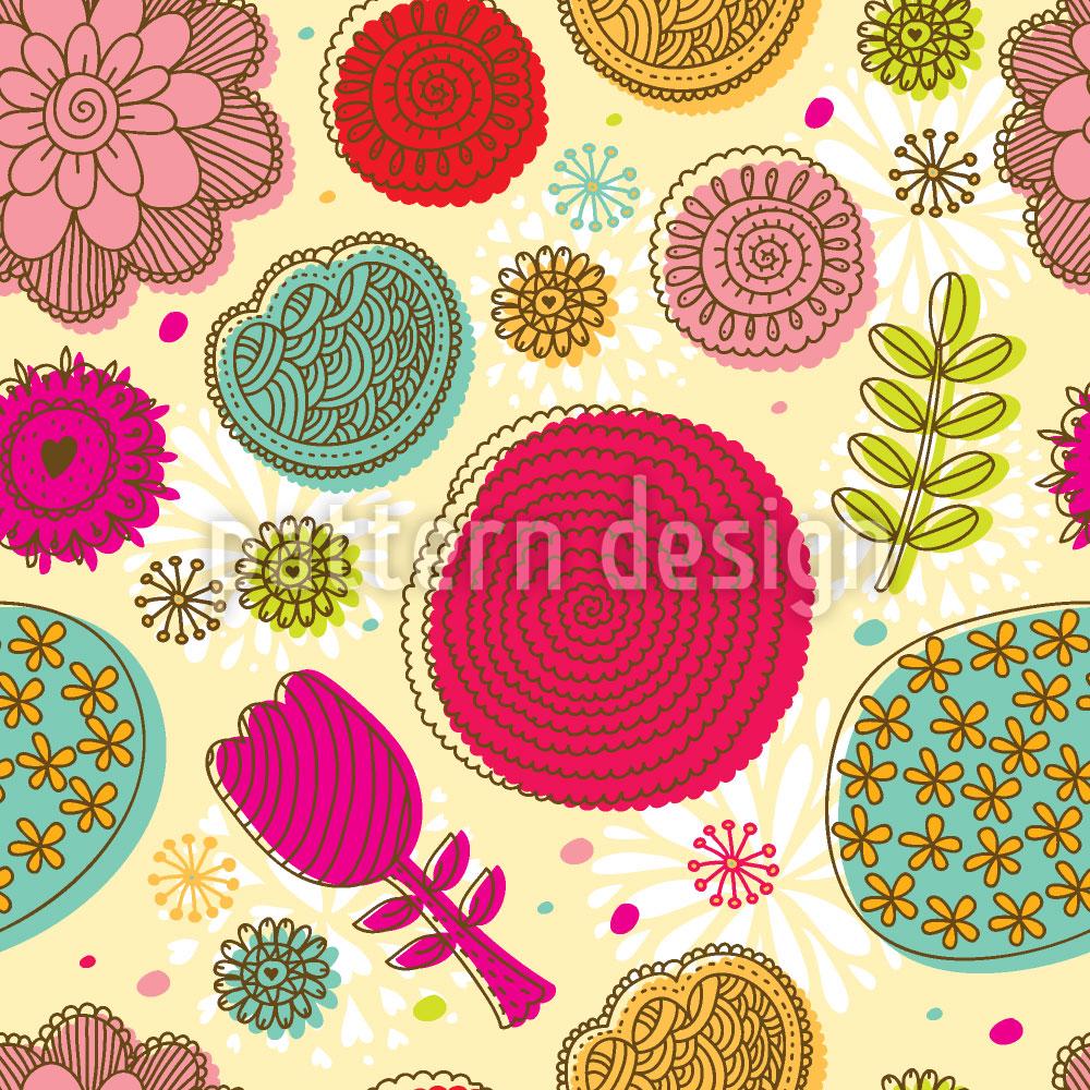 Designtapete Gekritzel Blumen