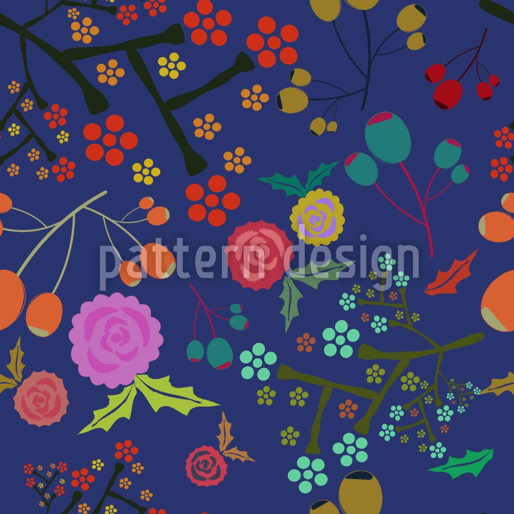 Designtapete Oliven Und Blumen