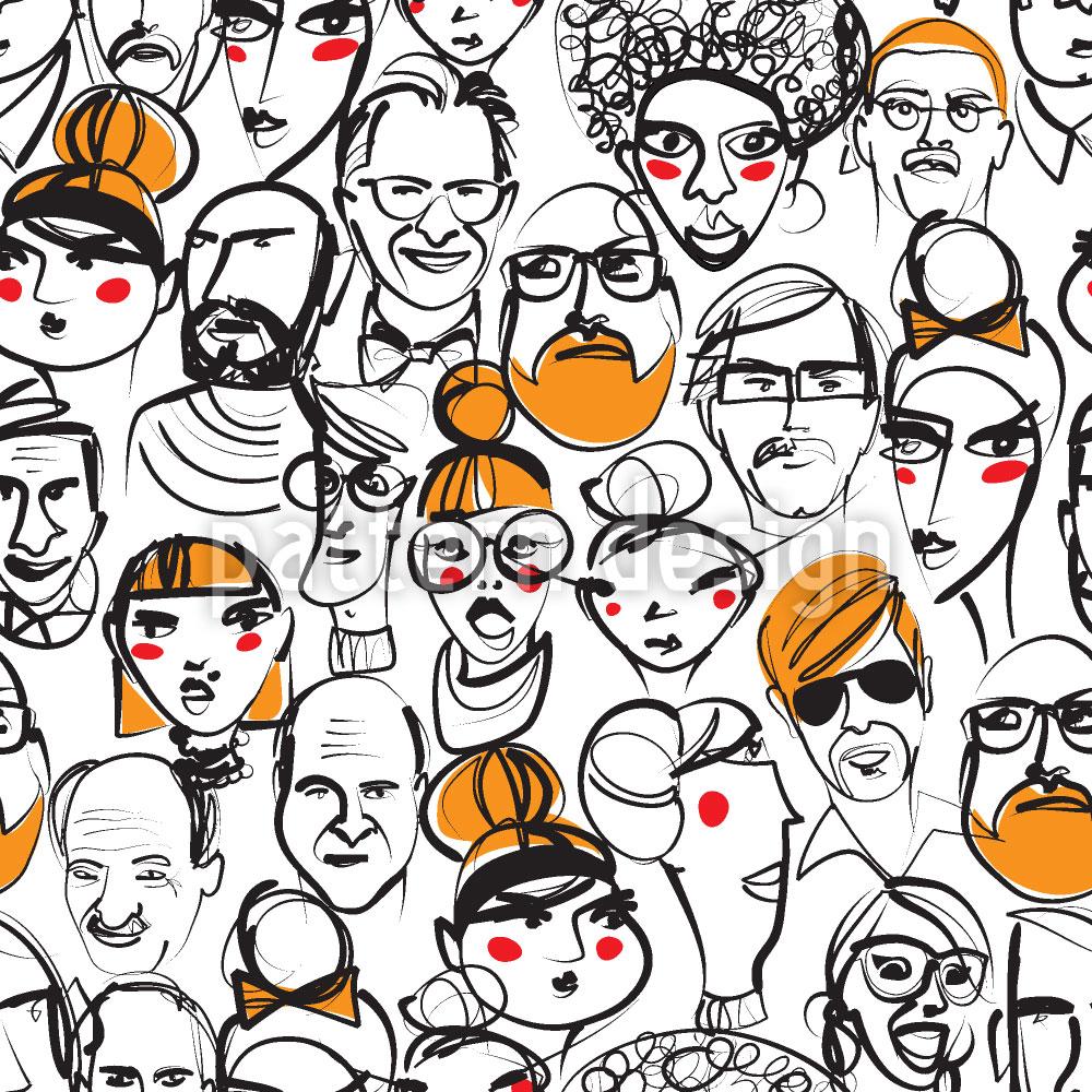 Designtapete Menschenmenge